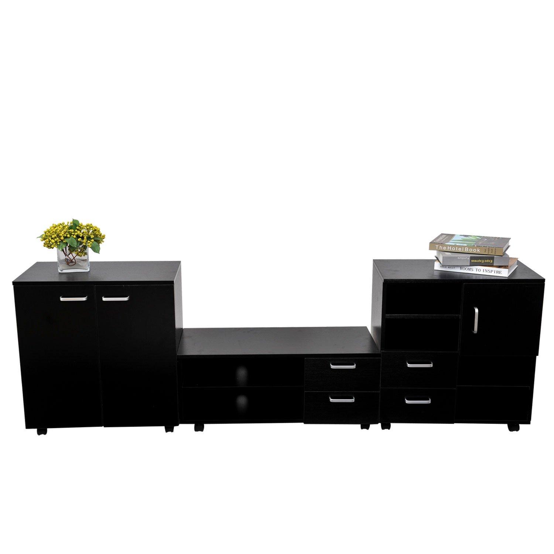 HOM Living Room Mobile 3 Piece Trio Furniture Set TV Cabinet