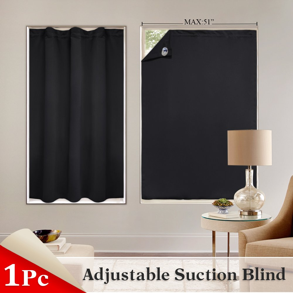 PONY DANCE Window Treatments Travel Blakout Blinds Versatile Ajustable Portable Curtain Panels Light Block Shade Suckers Stickers Baby Nursery, 51 78 inches, 1 Piece, Black