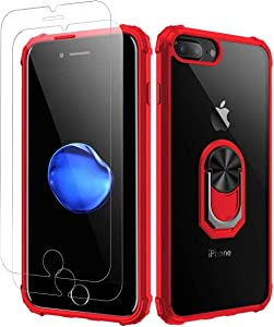iPhone 7 Plus Case, iPhone 8 Plus Case,[ Military Grade ] with [ Glass Screen Protector] 15ft. Drop Tested Protective Case, Kickstand, Compatible with Apple iPhone 8Plus, iPhone 7 Plus -Red