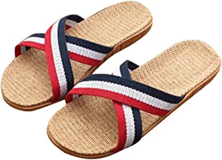 Modaworld scarpe Donne Uomo Pantofole☀️ Anti-Slip Sandali in Lino casa Indoor Estate Open Toe Scarpe Infradito Flip-Flop Scarpe da Spiaggia