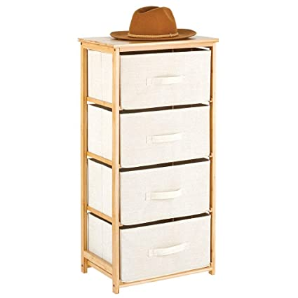 mDesign Vertical Dresser Storage Tower - 4 Drawers - Sturdy Bamboo Frame with Easy Pull Fabric Bins - Multi-Bin Organizer for Bedroom, Hallway, ...