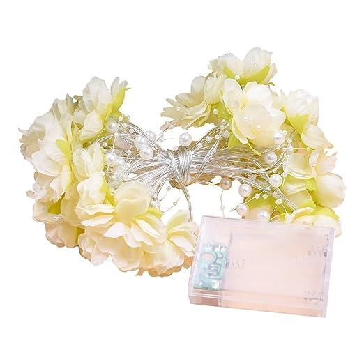 LEDMOMO Cadena de Luces Guirnalda Bombillas de Rosa de Tela Decoración Romántica para Fiesta Boda Habitación