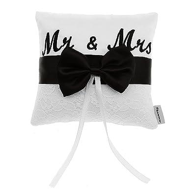 Cojín Portador Almohada de Anillo Decoración Mr &Mrs Cinta De Raso para Boda Nupcial 5cm