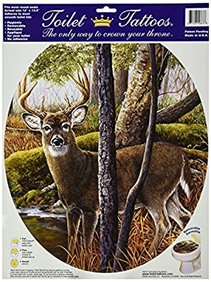 Toilet Tattoos, Toilet Seat Cover Decal,Deer Creek, Size Round