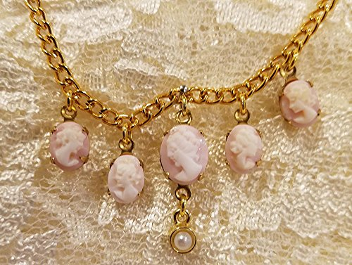 (Carved Real-Shell Pink Cameos Gold-toned Necklace)