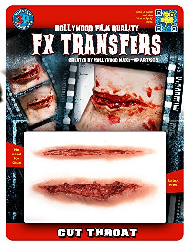 Tinsley Transfers  Cut Throat, Flesh/Multi, One Size (Halloween Prosthetics)