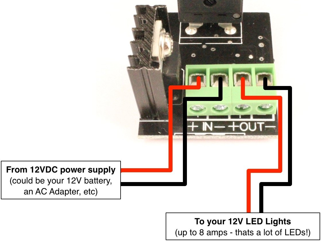 Led Dimmer Knob With Rotary Control Switch Pwm Dimming Schematic Of The Power Circuit For 12 Volt Leds Dim Up To 8 Amps At 12v Car Automotive Marine
