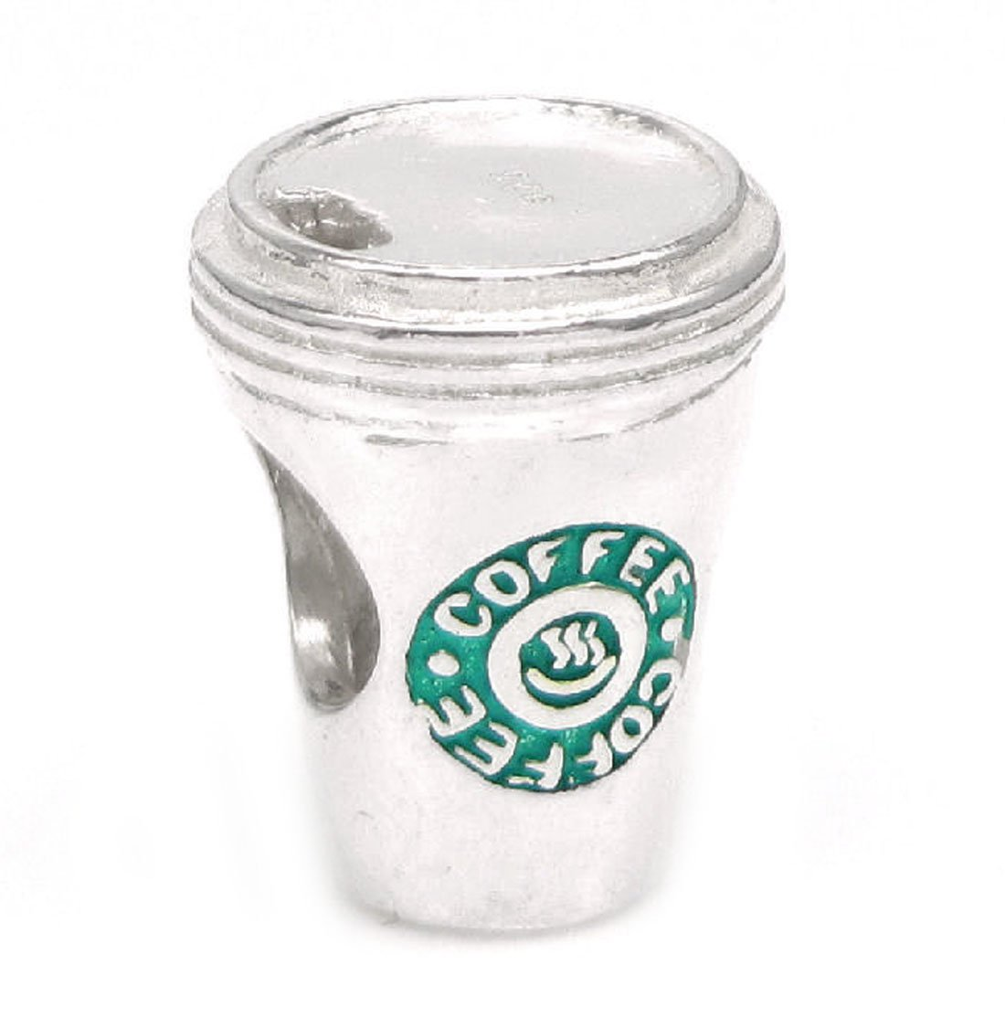 Sterling Silver Green Coffee Cup Charm For European Charm Bracelets