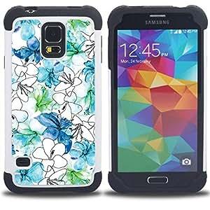 """Pulsar ( Flores Blanco Azul Dibujo Mano"""" ) SAMSUNG Galaxy S5 V / i9600 / SM-G900 V SM-G900 híbrida Heavy Duty Impact pesado deber de protección a los choques caso Carcasa de parachoques [Ne"""