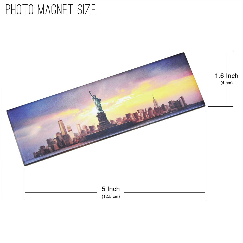 Set of 12 New York Panoramic Photo Magnets NYC 5x1.6 inch - Pack of 12