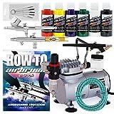PointZero Multi-purpose 3 Airbrush Kit w/ Compressor and...