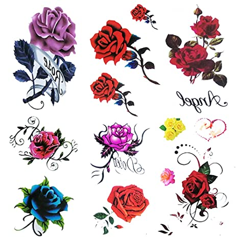 6 Sheets small fake Rose tattoo for women kids Girls,Temporary Tattoos blue  red flower,waterproof and Long Lasting sexy body tattoos flowers ,purple
