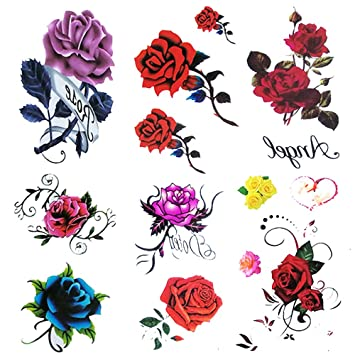 68ede350b 6 Sheet Small Fake Rose Tattoo for Women Kids Girls,Temporary Tattoos Blue  red Flower