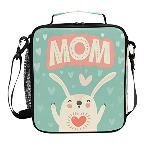 a9499a739444 Amazon.com: Cute Rabbit Love Mom Lunch Box Reusable Insulated Lunch ...