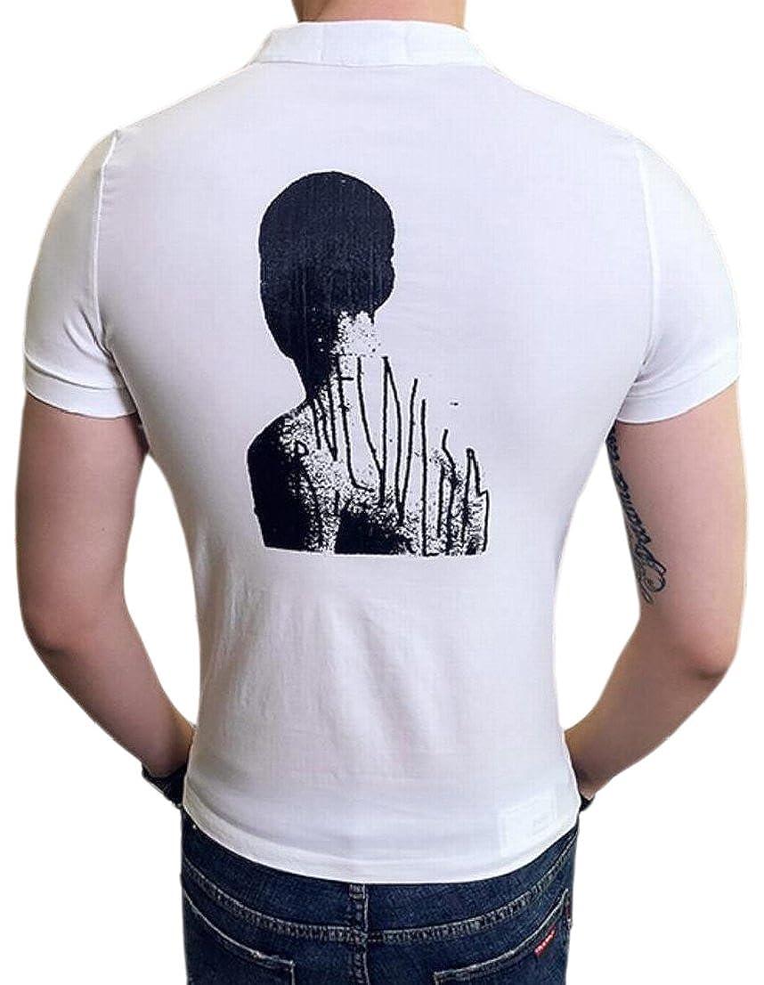 GenericMen Casual Short Sleeve Half Zipper Patchwork O-Neck T-Shirt