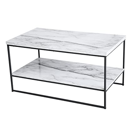 faux marble coffee table Amazon.com: Tilly Lin 2 Tier Faux Marble Coffee Table, Water  faux marble coffee table
