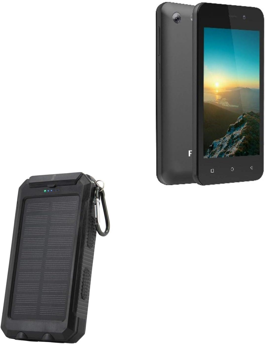 Figo Trio Battery, BoxWave [Solar Rejuva PowerPack (10000mAh)] Solar Powered Backup Power Bank 10000mAh for Figo Trio - Jet Black