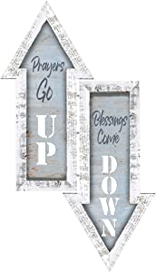Divinity Boutique Blessings Come Down Grey and White 16.5 x 7.25 Wooden Decorative Arrow Wall Art