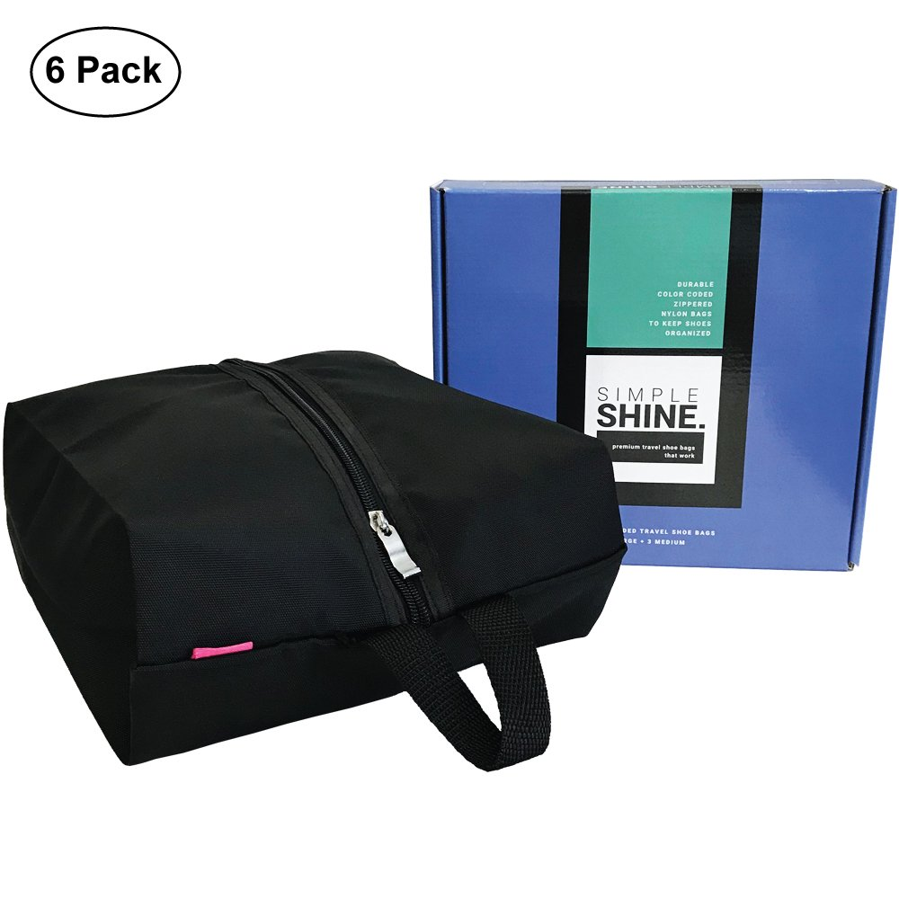 6 Premium Shoe Travel Bags for Women and Men | 3 Large and 3 Medium Nylon Zipper Bags for Storage No Dust by Simple Shine (Image #2)
