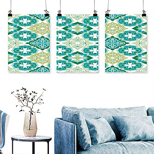 (SCOCICI1588 3-Piece Home Decoration Colorful Moroccan Tiles Ornaments Can be Used for Wallpaper,Pattern Fills,Web Page to Hang for Living Room No Frame 16 INCH X 24 INCH X 3PCS)