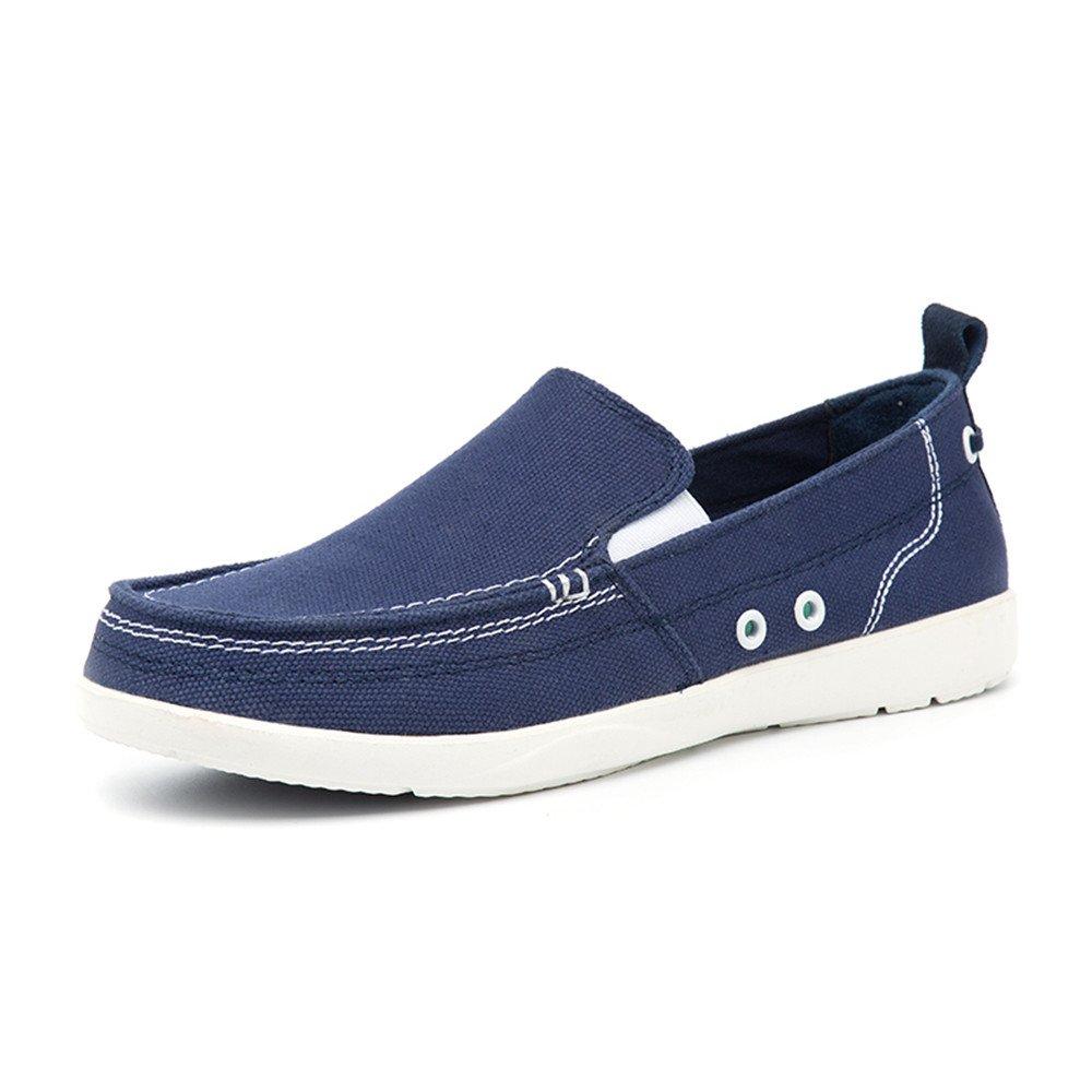 BEFAiR Men's Cloth Shoes Slip-on Canvas Loafers(6.5 D(M) US,Blue)