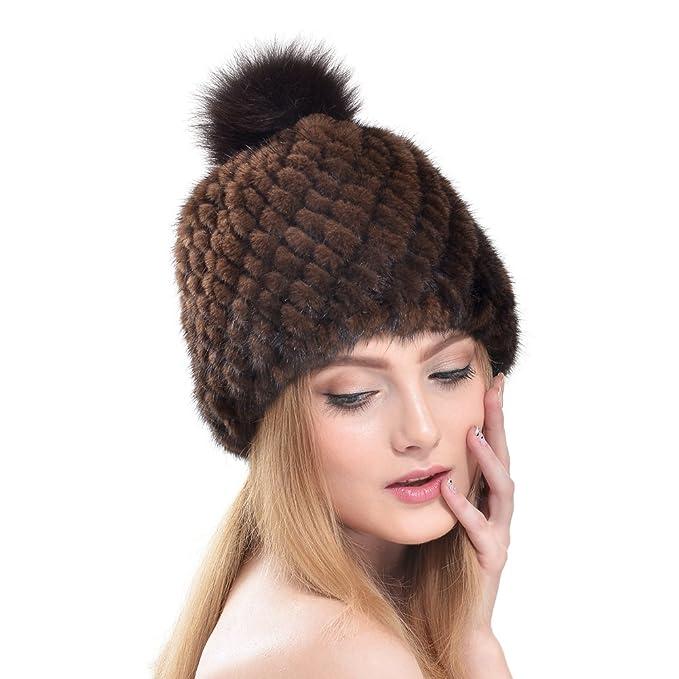 Cappello di Pelliccia - Inverno Vera Visone Cappello Berretto da Donna con  Pon-pon ( b4293302a959
