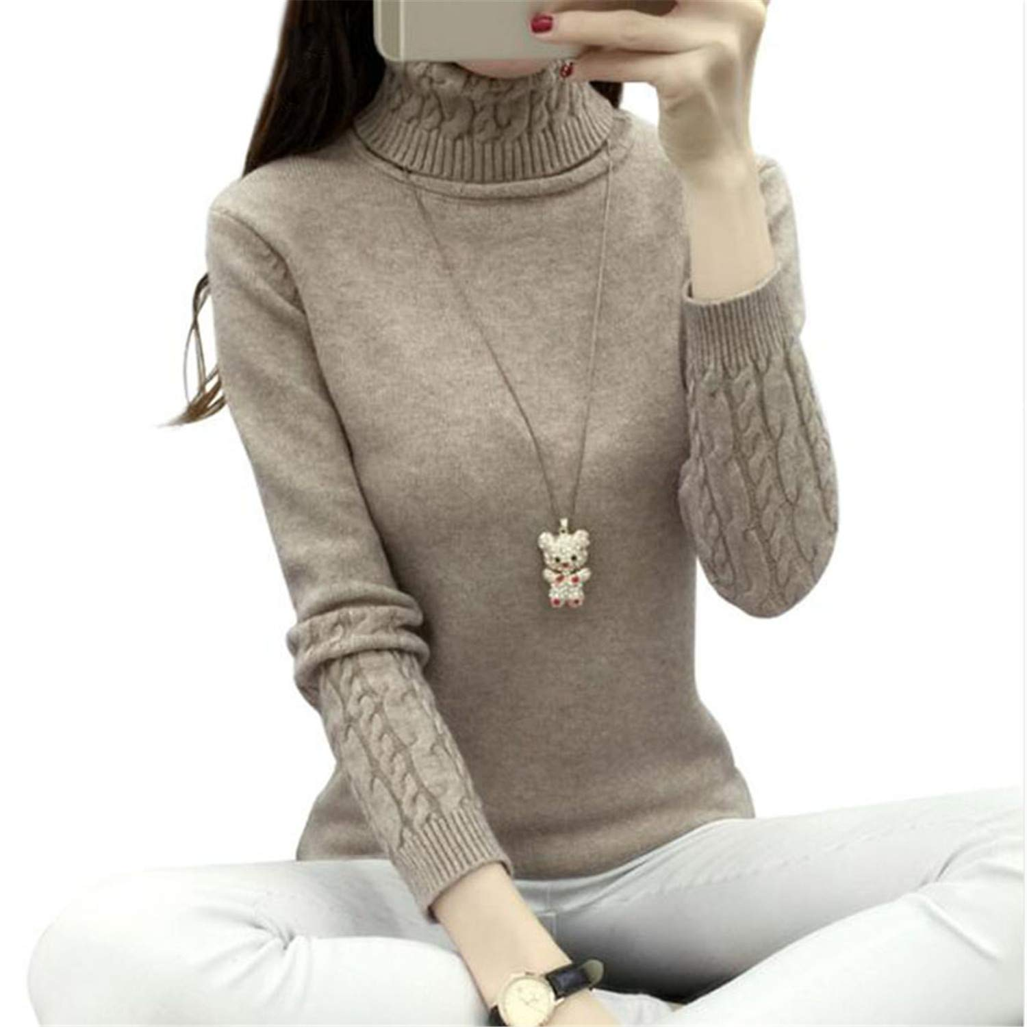 1cc795951cd Thick Warm Women Turtleneck Knit and Pullover Female Tricot Jumper Pull  Femme Pullover at Amazon Women s Clothing store