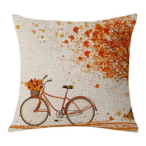 BLEUM CADE Autumn Fall Big Tree Pillow Cover Maple Leaf Bicycle Throw Pillow Covers Cushion Covers Square Decorative Pillow Covers for Sofa Couch Bed and Car(18