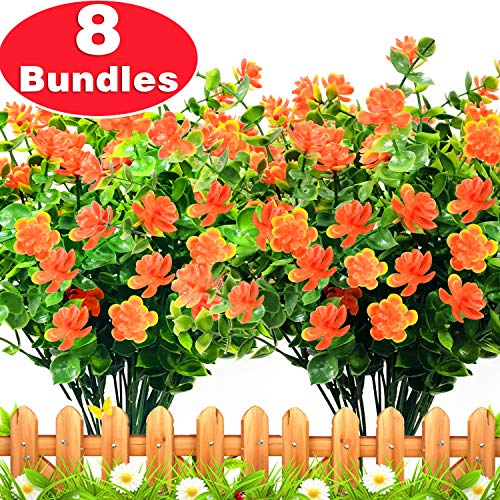 TURNMEON Artificial Flowers, 8 Bundles Faux Outdoor UV Resistant Simulation Greenery Shrubs, Artificial Plants Fake Flowers Indoor Outside Hanging Planter Garden Office Home Wedding Decor (For Flowers Garden Artificial)