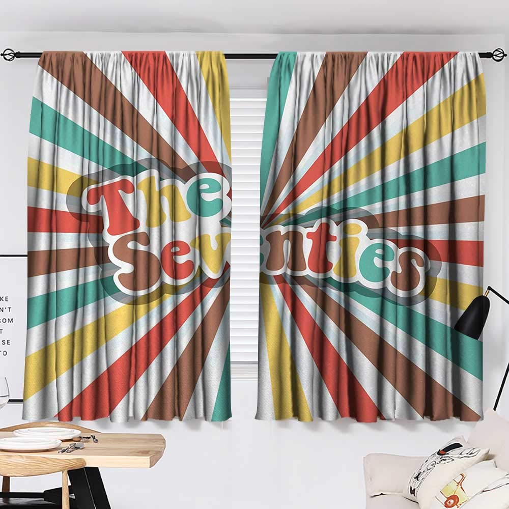 Jinguizi 70s Party Bedroom/Living The Seventies Retro Pastel Colored Typography Old Radial Backdrop Artwork Print Party Darkening Curtains Multicolor W55 x L39 by Jinguizi (Image #2)