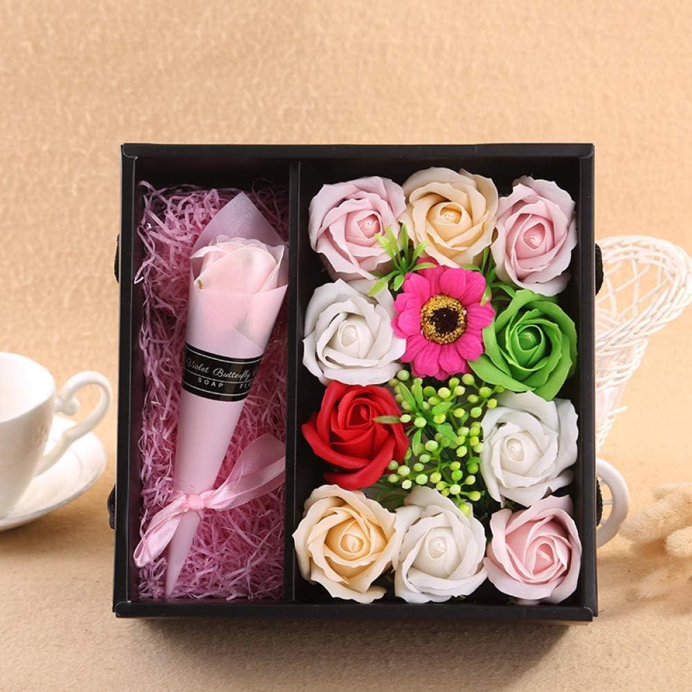 SPXMX Regalo de San Valentín Rosa Claro jabón Flor Caja de Regalo Navidad Día de San Valentín Esposa, Madre, Amante, niña,