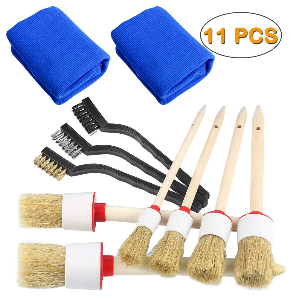 Electop Auto Detailing Brush Set 11 PCS, Car Cleaner Brush Set Including Natural Boar Hair Detail Brush, Nylon/Brass/Stainless Steel Wire Brush and Car Wash Towel Cloth for Cleaning Exterior Interior
