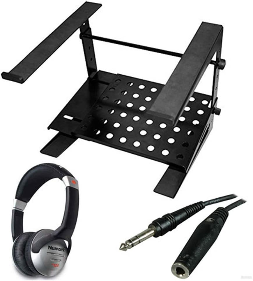 Ultimate Support JSLPT200 Multi-Purpose Laptop/DJ Stand with Stand Alone Base + On-Ear DJ Headphones + Headphone Extension Cable + Deluxe Accessory Bundle