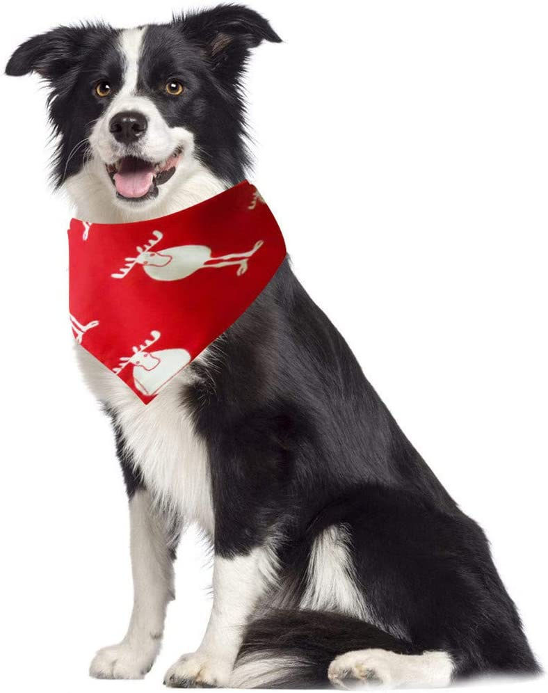 XBKPLO Christmas Dog Bandana Pet Collar for Christmas Party Red and Green Classical Xmas Santa Pattern Washable Pet Triangle Scarf Bibs Kerchief Cute Accessories for Dog and Cat