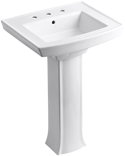 KOHLER K 2359 8 0 Archer Pedestal Bathroom Sink With 8 Inch