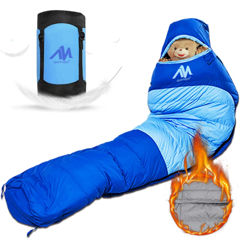 AYAMAYA Down Mummy Sleeping Bag 1200g Down Fill Zero Degree for Adults Up 6.5ft Winter Cold Weather Waterproof Tall Lightweight Backpacking Camping Bag with Compact Sack for 4 Season Outdoor