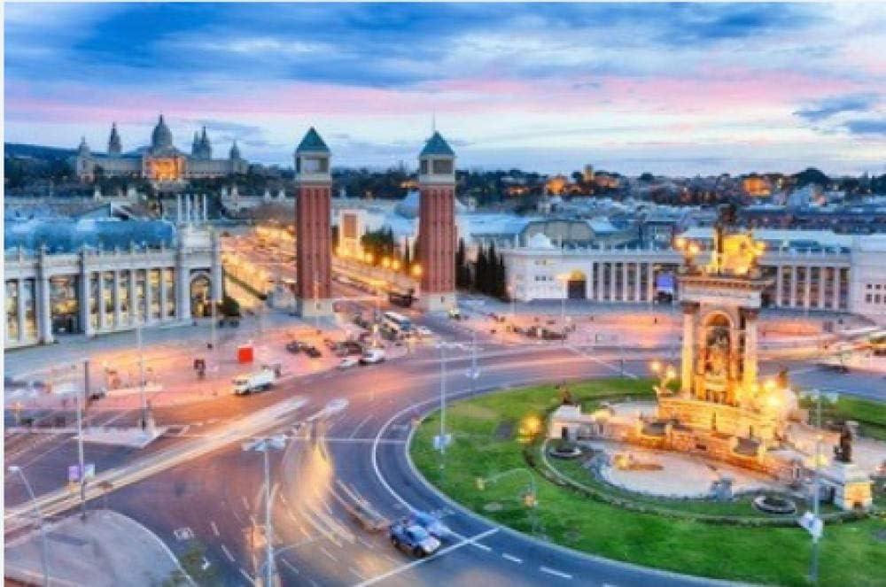 Rompecabezas De 1000 Piezas Anochecer Vista De Barcelona España. Plaza De Espana para Niños Adultos Festival Regalo: Amazon.es: Hogar