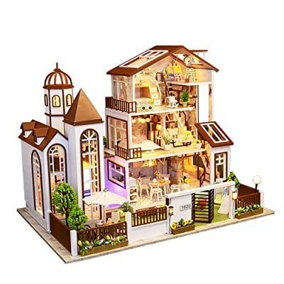CYL Handmade Miniature Dollhouse 3D Wooden Puzzles Warm Large Villa Dolls House Model with LED Furniture Kits Music Box Best Gift for Lover Children Friends: Toys & Games [5Bkhe1007386]