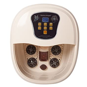Natsukage All in One Foot Spa Bath Massager with Lockable Caster Motorized Rolling Massage Heat Wave