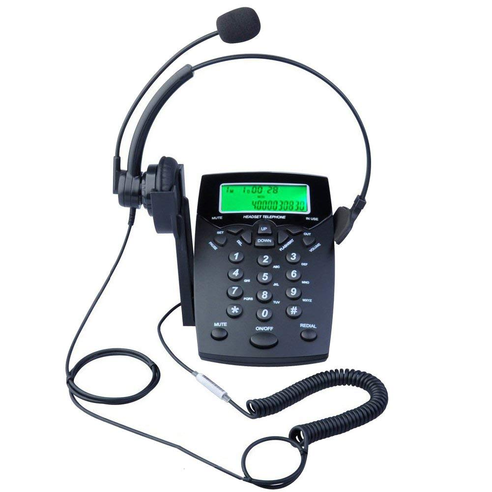 KerLiTar LK-P016B DialPad Telephone with Headset Call Center Corded Phone Tone Dial Key Pad with Caller ID Redial Black
