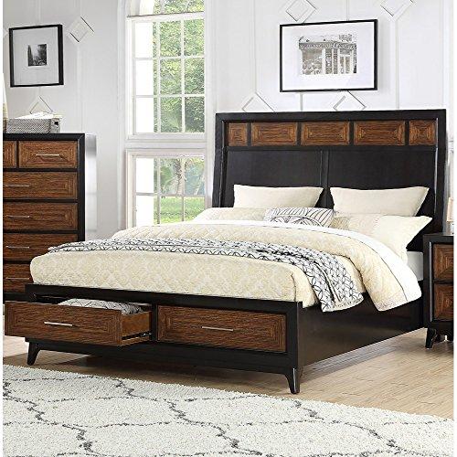 Benzara BM168656 Wooden Queen Bed with Black Headboard Inser