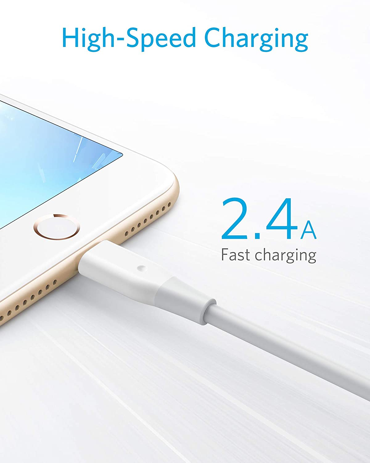 iPod Touch iPad Mini 4 // Air Anker Powerline Lightning Apple MFi Certified Most Durable Lightning Cable Perfect for iPhone X // 8//8 Plus// 7 // 6s // Plus 3ft One of The Worlds Fastest White