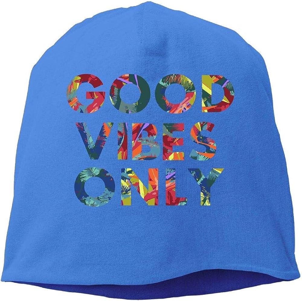 Good Vibes Only Men Women Winter Helmet Liner Fleece Skull Cap Beanie Hat for Skiing Black