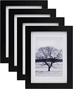 Egofine 5x7 Picture Frames 4 PCS - Made of Solid Wood HD Plexiglass for Table Top Display and Wall Mounting Photo Frame Black