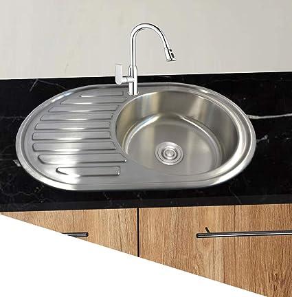 1 lavandino in acciaio inox 304 1 vasca ovale da cucina da incasso con  ripiano e saltarello 76,5 cm L 50 cm B
