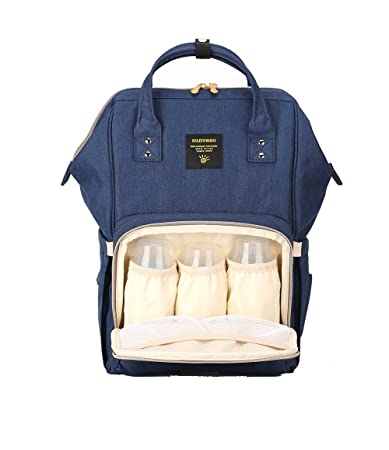 ead83ce00ff Amazon.com   SUNVENO Baby Diaper Bag Backpack Mummy Maternity Nappy Bag  Large Travel Waterproof Nappy Changing Bag Insulated Backbag (Navy)   Baby