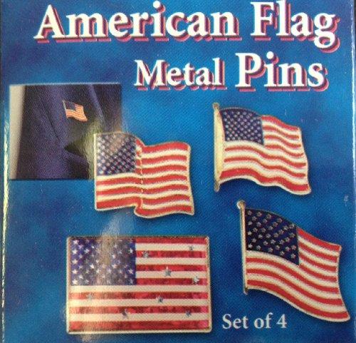 Set of 4 American Flag Lapel Pins