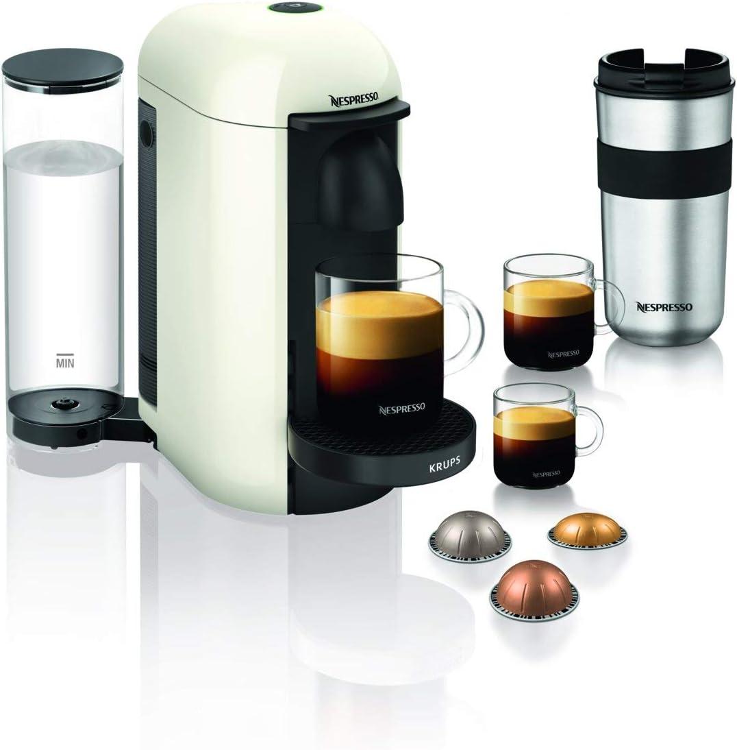 Krups Nespresso Vertuo Plus - Cafetera de cápsulas Depósito de agua de 1,1 l. Blanco: Amazon.es: Hogar