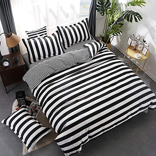 wuy Black and White Bedding Set 3PC Striped Duvet Cover Pillowcase Reversible Design HomeTextiles (King,1 Duvet Cover +2 Pillow)