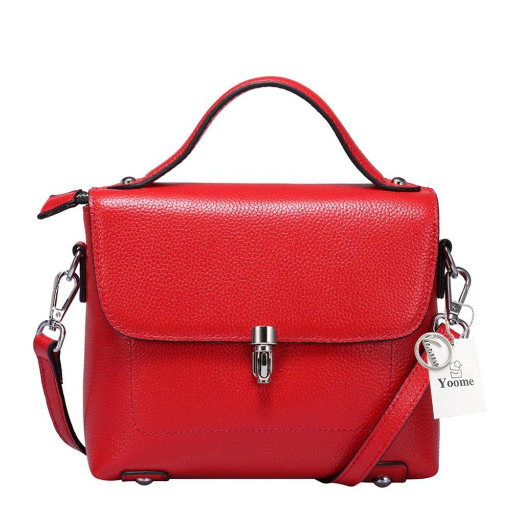 Yoome Vrai Sacs à main en cuir pour les femmes sacs carrés petits sacs à poignée supérieure sac à bandoulière sac à bandoulière sacoches pour les dames avec fermeture à clapet tour de ve